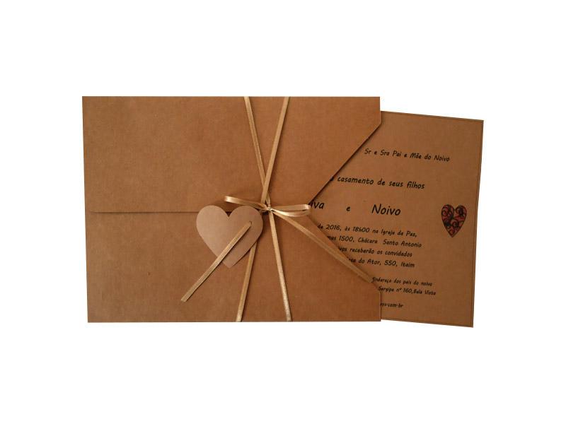 Convite Cetim Coração Multi Espaço Caixas Convites